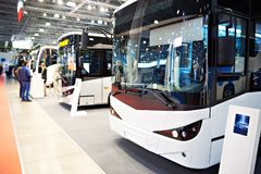 Bus exhibition. Modern buses on the exhibition stock photography