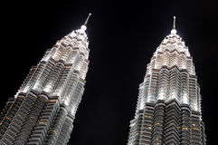 Modern business architecture. View of Petronas Towers - modern business architecture royalty free stock photos