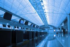 Modern Business Architecture. Hall in Hong Kong International Airport Royalty Free Stock Photography