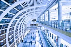 Modern Business Architecture. Hall in Hong Kong International Airport Stock Photo
