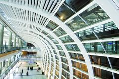 Modern Business Architecture. Hall in Hong Kong International Airport Stock Photos