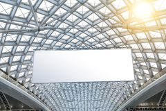 Modern architecture roof structure and blank billboard royalty free stock photos