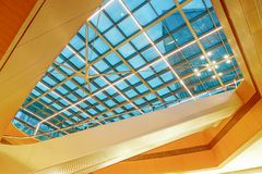 Glass roof  structure of modern commercial building. Modern business architecture with  steel construction and glass roof structure stock image