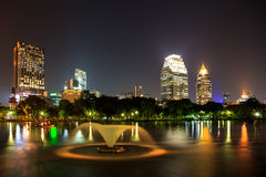 Modern business area at night in Bangkok Royalty Free Stock Images