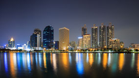 Modern business area at night in Bangkok Stock Images