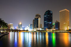 Modern business area at night in Bangkok Royalty Free Stock Photography