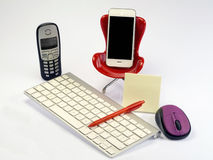 Modern business break workplace. With chair keyboard mouse telephone Royalty Free Stock Photo