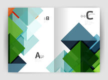 Modern business brochure or leaflet A4 cover template. Abstract background with color triangles, annual report print backdrop. Vector design for workflow Stock Image
