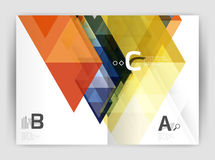 Modern business brochure or leaflet A4 cover template. Abstract background with color triangles, annual report print backdrop. Vector design for workflow Royalty Free Stock Photography