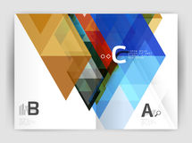 Modern business brochure or leaflet A4 cover template. Abstract background with color triangles, annual report print backdrop. Vector design for workflow Royalty Free Stock Images