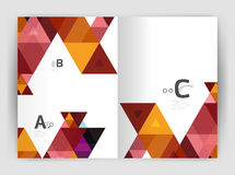 Modern business brochure or leaflet A4 cover template. Abstract background with color triangles, annual report print backdrop. Vector design for workflow Royalty Free Stock Image