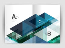 Modern business brochure or leaflet A4 cover template. Abstract background with color triangles, annual report print backdrop. Vector design for workflow Stock Photos