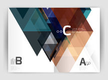 Modern business brochure or leaflet A4 cover template. Abstract background with color triangles, annual report print backdrop. Vector design for workflow Stock Photo