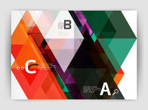 Modern business brochure or leaflet A4 cover template. Abstract background with color triangles, annual report print backdrop. Vector design for workflow Stock Images