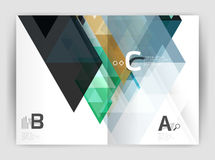 Modern business brochure or leaflet A4 cover template. Abstract background with color triangles, annual report print backdrop. Vector design for workflow Stock Photography