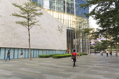 City street sidewalk. Urban city sidewalk street view of China. Outside modern business building TaiKoo Hui in Guangzhou Guangdong (Canton) China Royalty Free Stock Photography