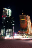 Modern Business Buildings by Night. Modern Rotterdam Business District Buildings by Night Stock Photography