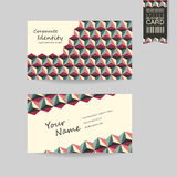 Modern business card template design. With geometric background in red, green and beige Royalty Free Stock Image