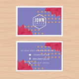 Modern business card template in low poly abstract background. Printing design template. Modern business card template in low poly abstract background. Printing Stock Photo