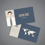 Modern business card with world map Stock Photo