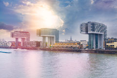 Modern business center on blue sky background in Cologne, Germany Stock Photos