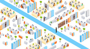 Modern Business Center Office Building Businesspeople Working Interior 3d Isometric Stock Photography