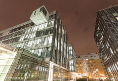 Modern business center in Warsaw at night Stock Photography
