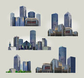 Modern business centre illustrations set Stock Photo