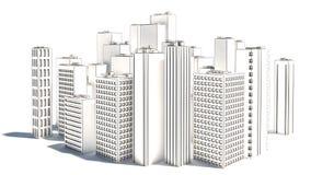 Modern Business City on white background. sketch stock illustration
