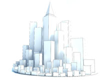Modern Business City  on white background. sketch Stock Photo