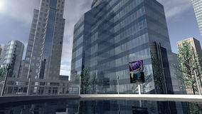 Modern business company district. An image of a modern business company district. 3D rendered modern buildings, skyscrapers and office companies forming a royalty free illustration