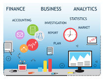 Modern  business concept, analysts and finance. Modern  business concept, analysis and finance. Flat line design  illustration. Data analysis, statistics Stock Images