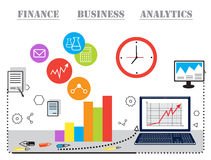 Modern  business concept, analysts and finance. Modern  business concept, analysis and finance. Flat line design  illustration. Data analysis, statistics Stock Photo