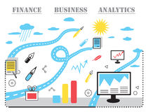 Modern  business concept, analysts and finance. Modern  business concept, analysis and finance. Flat line design  illustration. Data analysis, statistics Stock Image