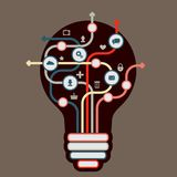 Modern Business Concept. Info Graphic Elements. Idea Lightbulb with many Solutions Stock Photo