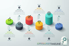 Modern business cylinder 3d style options banner. Vector. can be used for workflow layout, diagram, number options, step up options, web design, infographics Stock Photos