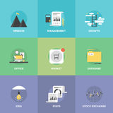 Modern business development flat icons set Royalty Free Stock Photography
