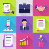 Modern business flat icons set. Flat business icons set: document, page on tablet, office file and man, rocket and handshake,. Interface elements in flat design Stock Photography