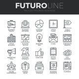 Modern Business Futuro Line Icons Set Royalty Free Stock Photos
