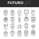 Modern Business Futuro Line Icons Set. Modern thin line icons set of doing business using technology and communication. Premium quality outline symbol collection Royalty Free Stock Photos