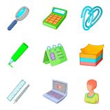 Modern business icons set, cartoon style. Modern business icons set. Cartoon set of 9 modern business vector icons for web isolated on white background Royalty Free Stock Photo