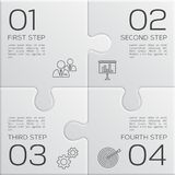 Modern business infographic for your presentation. Four steps to success. Puzzle pieces. Vector. Modern business infographic for your presentation. Four steps Royalty Free Stock Images