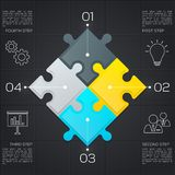 Modern business infographic for your presentation. Four steps to success. Puzzle pieces. Vector. Modern business infographic for your presentation. Four steps Stock Photo