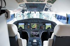Modern business jet glas cockpit view. Stock Image