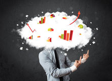 Modern business man with a graph cloud head Royalty Free Stock Photography