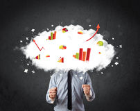 Modern business man with a graph cloud head. Concept Royalty Free Stock Photo
