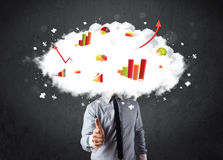 Modern business man with a graph cloud head Stock Images