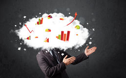 Modern business man with a graph cloud head. Concept Royalty Free Stock Photos