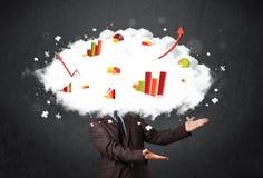 Modern business man with a graph cloud head. Concept stock photos