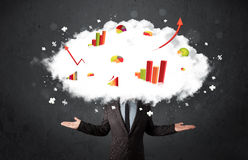 Modern business man with a graph cloud head Royalty Free Stock Image